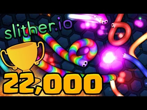 22,000 HIGH SCORE GAMEPLAY! - SLITHER.IO Gameplay #2 (How To Get Skins In Slither.io)
