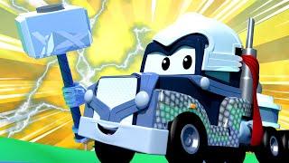 Biệt đội siêu anh hùng đặc biệt - Carl là Thần sấm - cửa hàng sơn của Tom 🎨 phim hoạt hình về xe tải