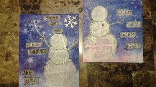 Snowman mixed media canvases