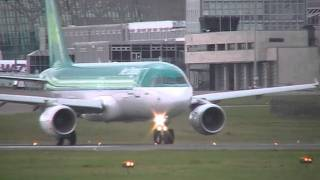 Great Aer Lingus Take Off from runway 35 with air traffic control included .