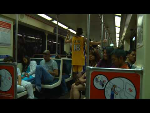 Los Angeles Laker Pau Gasol spotted on the subway