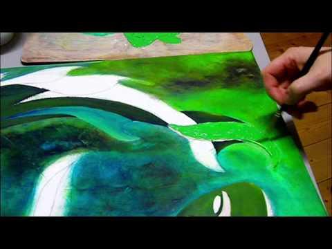 Artiste peintre cr ation d 39 une toile peinture acrylique zodiaque po alecart youtube for Peinture acrylique sur toile