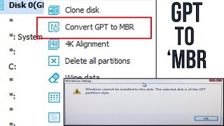 Convert GPT To MBR - No Data Loss - Windows GPT partition Error Simple Solution  🔥😱