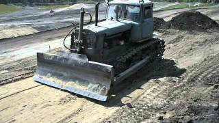 "Old soviet dozer DZ-42 tractor DT-75 ""Kazachstan"" in action"