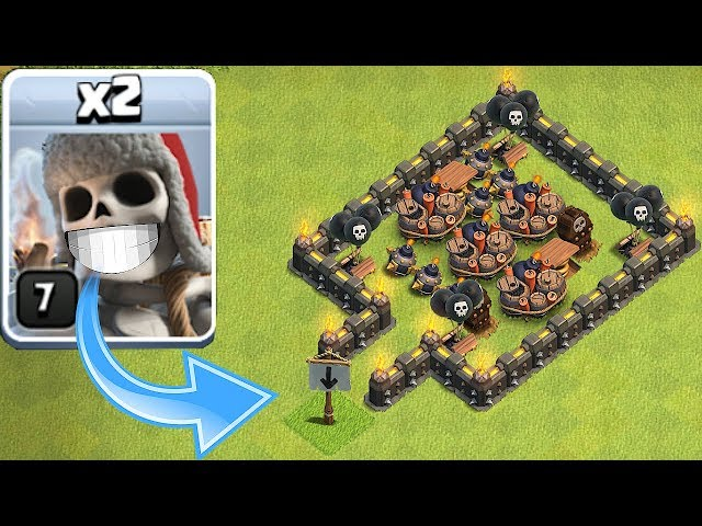 ALL TRAPS Vs. GIANT SKELETON!!!  Clash Of Clans  TROLL BASE!!