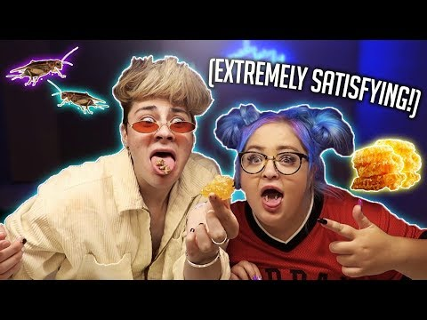 AMSR EATING RAW HONEYCOMB AND CRICKETS!! *extremely satisfying* thumbnail