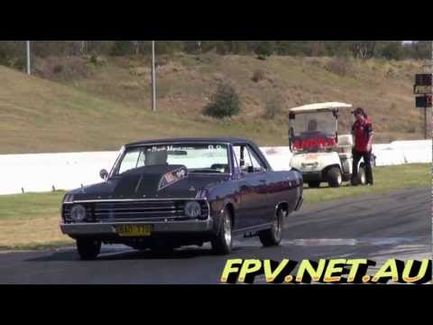 VALIANT V8 COUPE BAD770 BURNOUT AT MOPAR RUMBLE SYDNEY DRAGWAY 11.11.2012