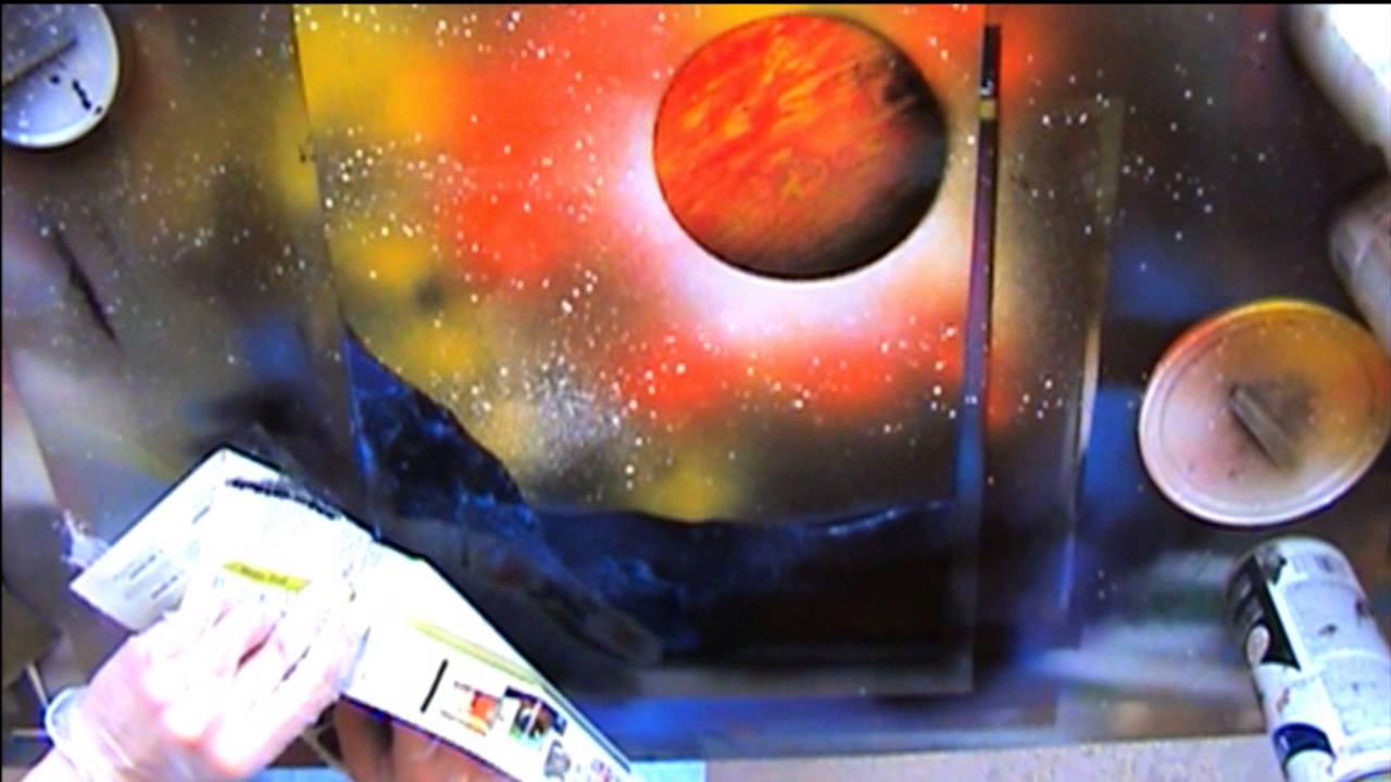 Spray paint art live tutorial trees planets and ground for Spray paint art tutorial beginner