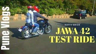 JAWA 42 TEST RIDE in PUNE   JAWA 42 TOP SPEED   KATTY'SRIDE   Pune vlogs