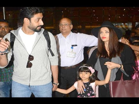 Aishwarya Rai And Abhishek Bachchan With Daughter Aaradhya At Airport