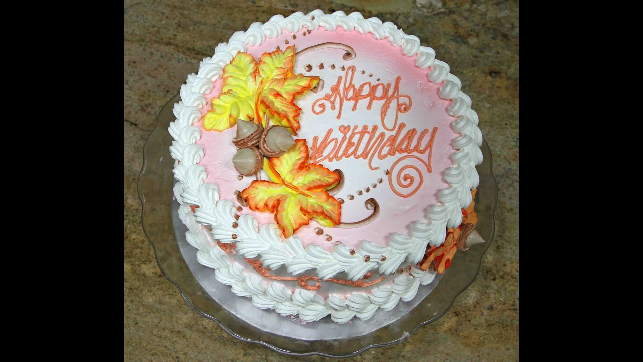 Cake Decorating Pictures : Cake decorating- Fall Leaves Design- Piped On- Tutorial ...