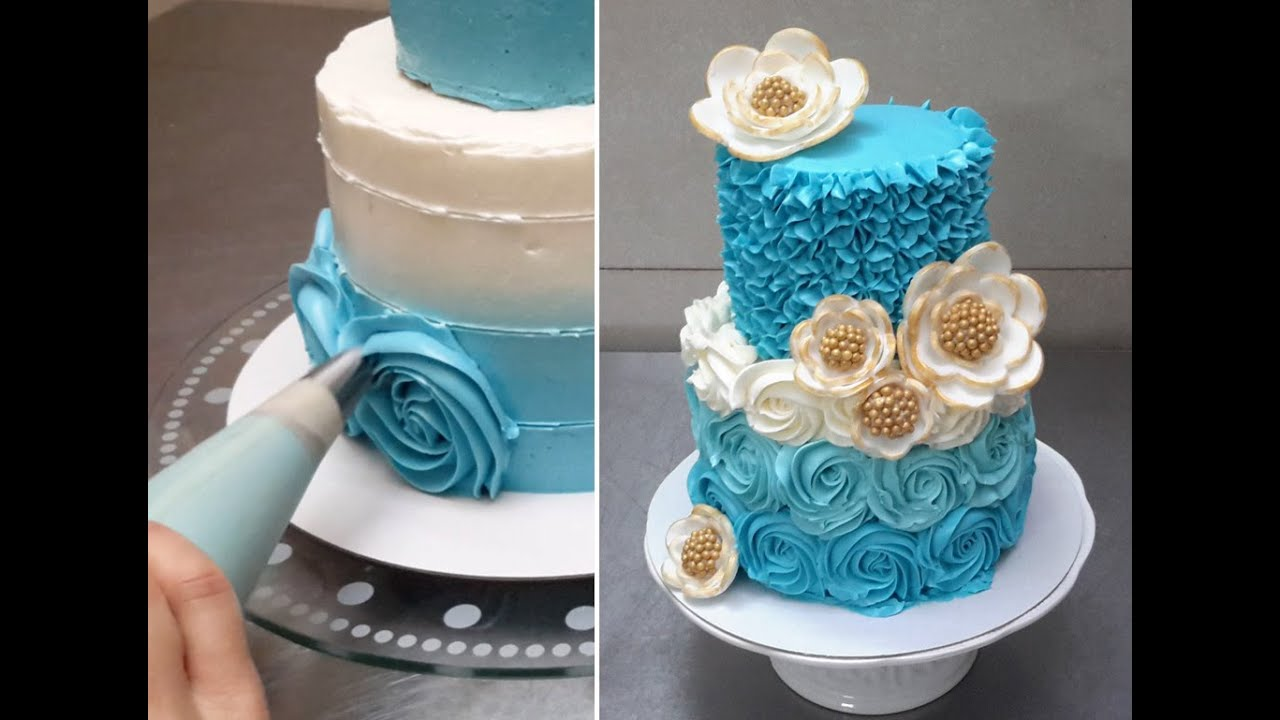 How To Design A Cake Using Butter Icing : Rose Swirl Cake - Piping Buttercream Roses. How To by ...