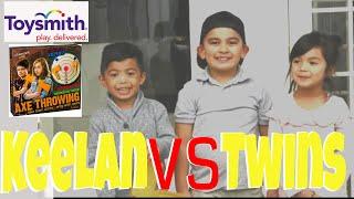 Keelan VS Twins - Axe Throwing Game Warrior's Mark by Toysmith Toys ok4kidstv video 234