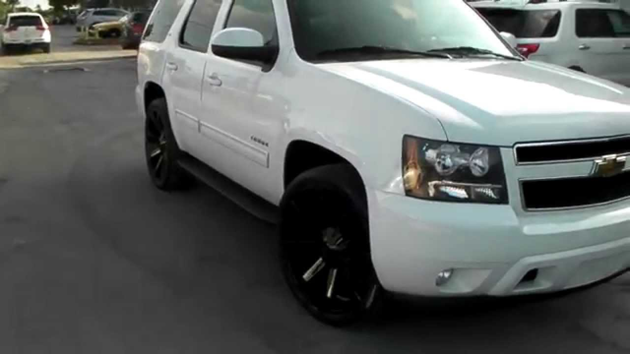 Blacked Out Ford Expedition >> DUBSandTIRES.com 24 Inch KMC Slide Black Wheels 2012 Chevy Tahoe Rims Miami Ft. Lauderdale - YouTube