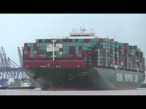 Departure of the CSCL Globe from Felixstowe 9th January 2015