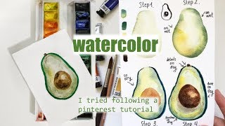 I TRIED FOLLOWING A PINTEREST WATERCOLOR TUTORIAL || Watercolor tutorial || my first time || #1