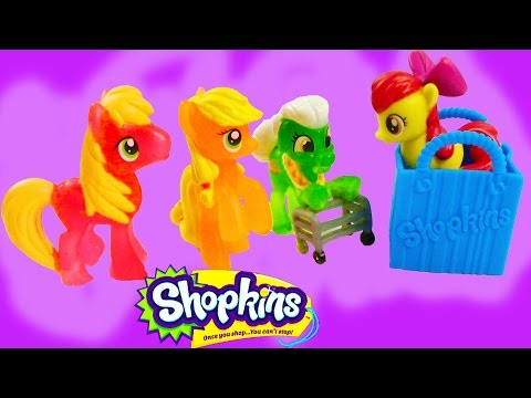 Mlp Shopkins 12 Pack Mystery Surprise Blind Bag My Little Pony Toy Review Opening Apple Family video