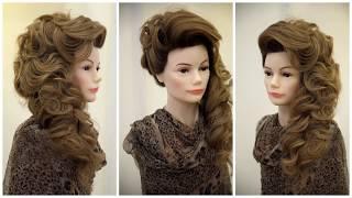 Ассиметричная Свадебная прическа .Причёска на бок.