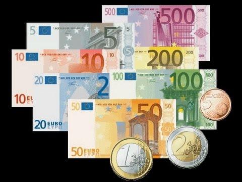 """Как выглядят Европейские деньги """"EURO"""""""