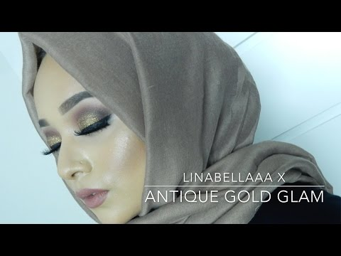 Antique Gold - Glitter Makeup Tutorial - Linabellaaa x - YouTube