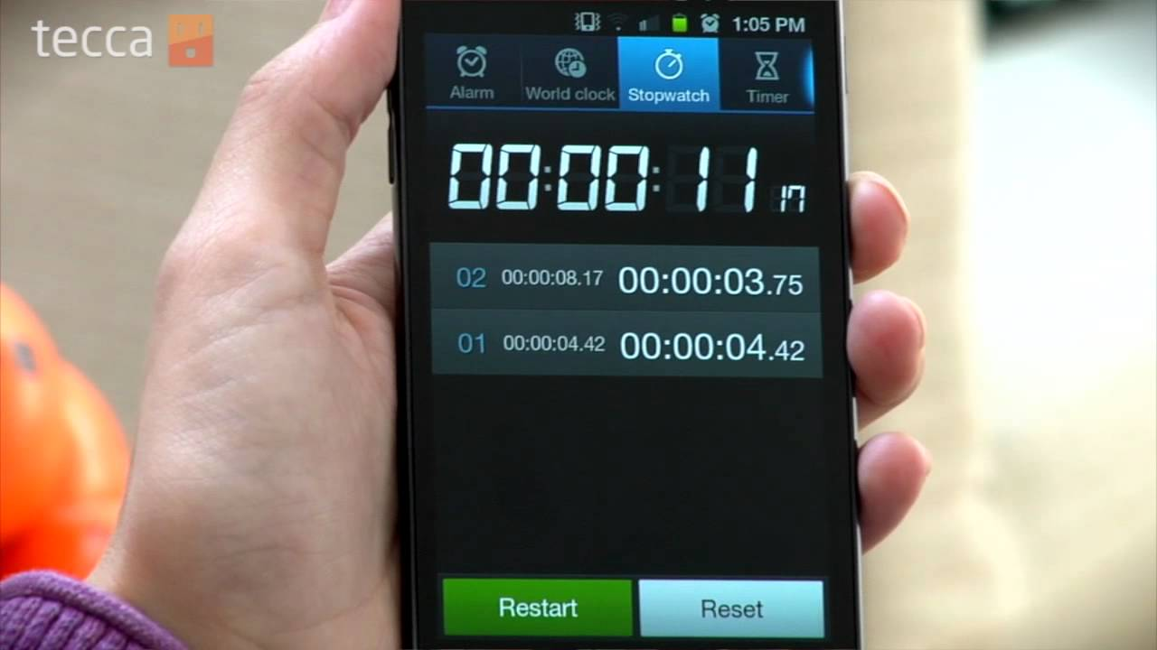 how to find stopwatch on android