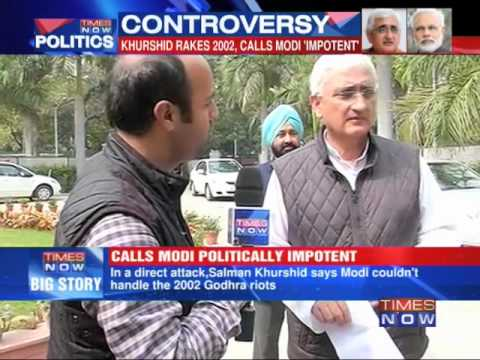 Salman Khurshid stands by 'impotent' comment on Narendra Modi