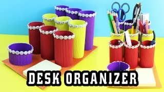 🎒🏫DIY Cardboard Desk Organizer - 5 minute crafts - simplekidscrafts