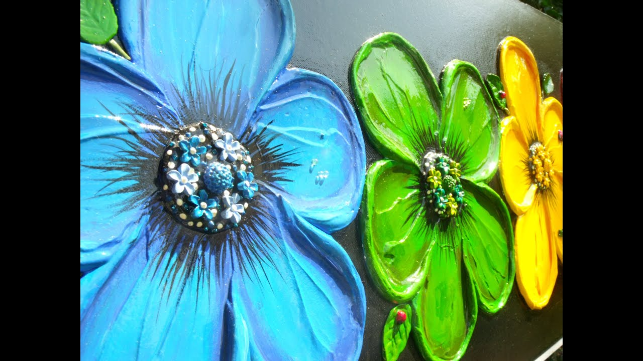 How To Make Textured Flowers On Paintings