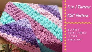 Crochet C2C Baby Blanket /Sofa Cover/ Fridge Cover / Crochet Table Mat in Tamil-Neidhal Crochet