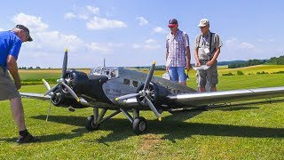 XXXL 98KG RC MODEL AIRPLANE JU-52 FLIGHT DEMO WITH CRASH!! *REMOTE CONTROL PLANE