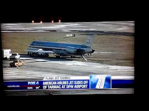 HD DFW American Airlines MD-80 Slide Off Taxiway Dallas Fort Worth Airport Ice Storm