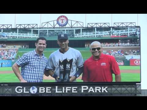 Derek Jeter ceremony at Globe Life Park with George W. Bush