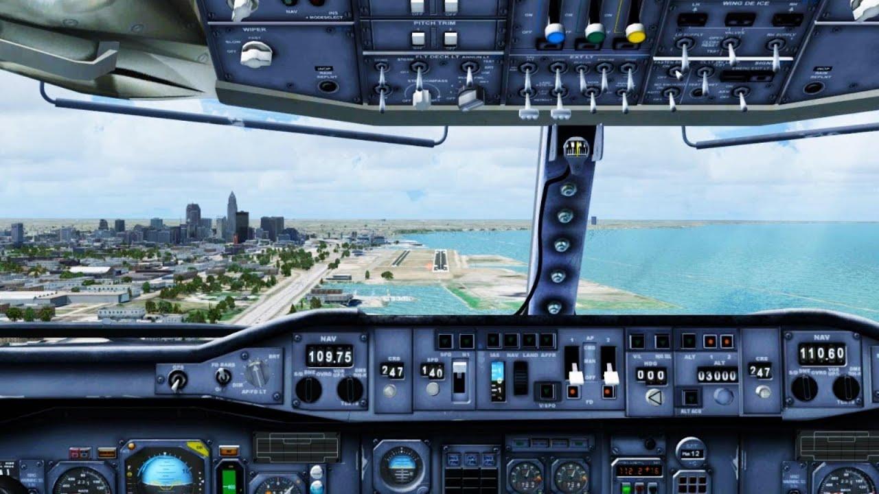 fsx continental airbus a300 landing   cleveland   cockpit
