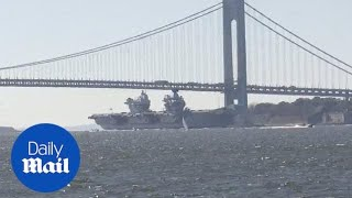 UK's largest warship HMS Queen Elizabeth enters New York City harbor