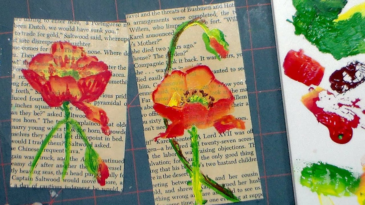 Book Cover Watercolor Art ~ How to paint a poppy in acrylics on an old book page