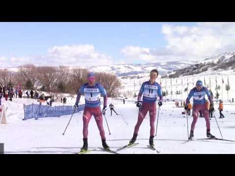 Одновременный финиш россиян.Скиатлон 30 км,США.