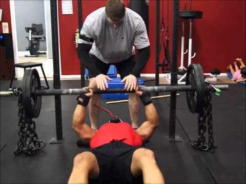 Bench Press, Flat Powerlifting style, Axle and chain Bench Press, Klokov Press Image 1