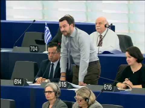 SALVINI DISTRUGGE JUNCKER E L'EUROPA DELLE BANCHE E DEI MASSONI