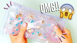DIY LIQUID GLITTER WATERFALL PENCIL CASE | Back to School Supplies