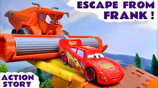 Disney Pixar Cars McQueen and Mater Escape from Frank Toy Story and Funny Tractor Tipping