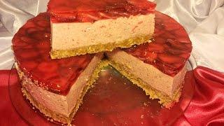Торт-суфле с клубникой. Торт без выпечки