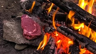 Cooking Meat for Primitive Survival on a Rock