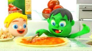 SUPERHERO BABIES MAKE PIZZA ❤ Spiderman, Hulk & Frozen Play Doh Cartoons For Kids