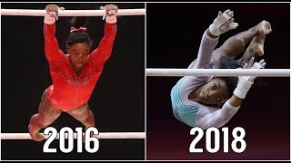 Simone Biles: 2016 vs. 2018 | Uneven Bars