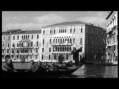 British Eighth Army troops, on furlough, enjoy sights of Venice from gondolas, at...HD Stock Footage