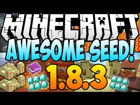 ★ Minecraft 1.8.3 Seeds: 10 DIAMONDS. 3 TEMPLES. 2 DUNGEONS. STRONGHOLD. VILLAGE AT SPAWN (1.8 Seed)