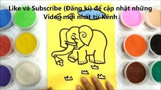 Đồ chơi trẻ em TÔ MÀU TRANH CÁT CHÚ VOI CON - BÉ HỌC TÔ MÀU - Coloring elephants so kute