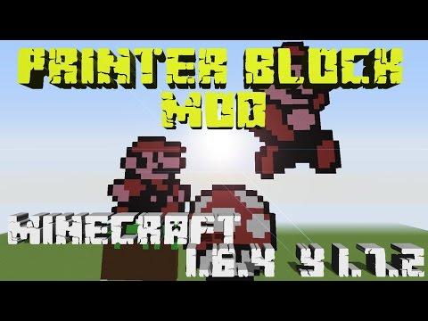PIXEL ART EN MINECRAFT!!! REVIEW DEL MOD PRINTER BLOCK   MINECRAFT 1.6.4. 1.7.2 y 1.7.10