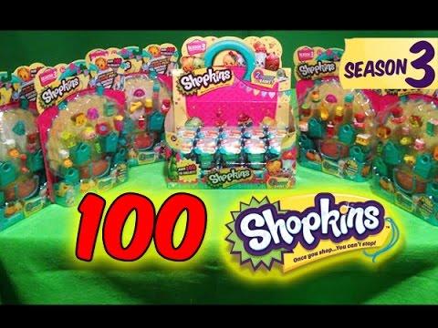 100 Shopkins Season 3 Surprise Blind Bags Opening/Unboxing HUGE HAUL RARES ULTRA RARES POLISHED