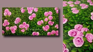 SIMPLE Acrylic Painting ROSES Techniques - Painting Lessons - Learn to Paint on Canvas - Day #29